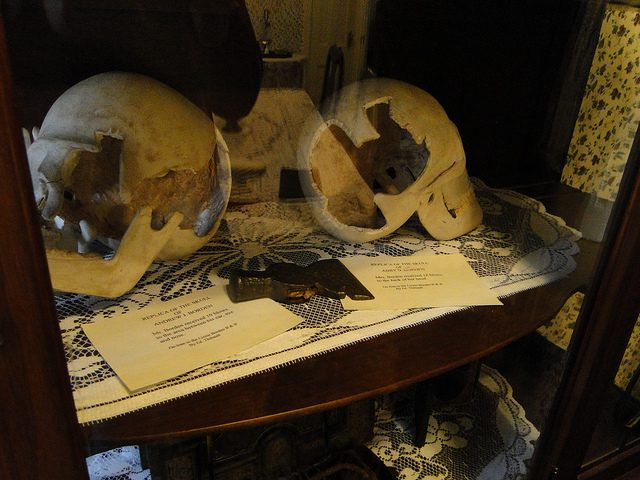 The murder weapon and replica skulls put on display.Author:jjandamesCC BY-ND 2.0