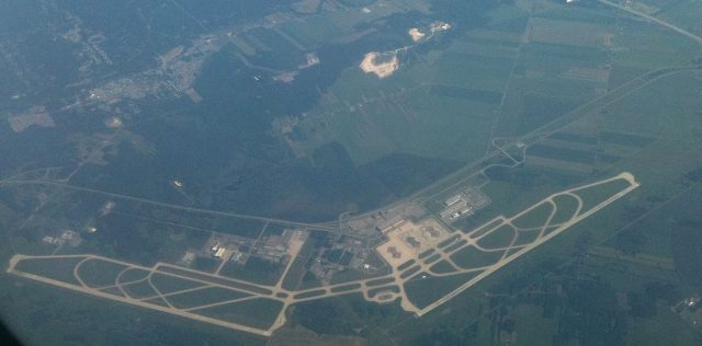 An aerial photograph from a Porter Air Flight of the Montréal Mirabel International Airport.Author:Russell Sutherland CC0