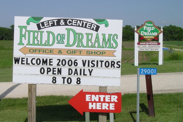 Two signs mark the entrances to the Field of Dreams. Author:MadmaxmarchhareCC BY 2.5