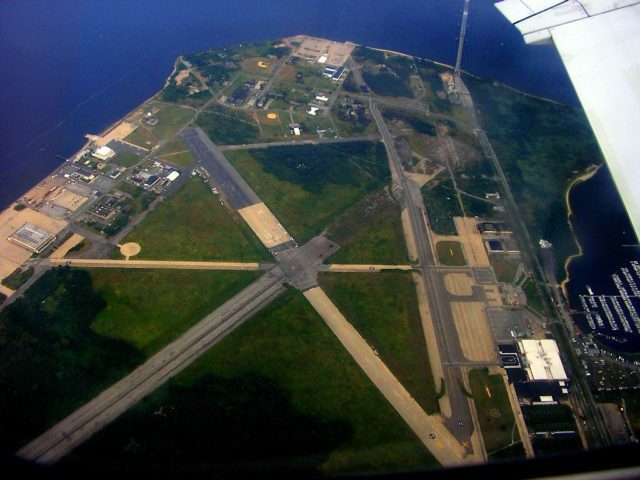 Aerial view of Floyd Bennett Field, seen during departure from JFK.