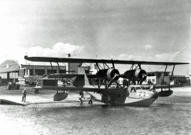 A U.S. Coast Guard Hall PH-3 flying boat (V179) on the ramp at Coast Guard Air Station, Floyd Bennett Field, New York (USA), in 1944.