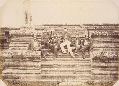 "Group portrait of Doudart de Lagrée and other members of the ""Commission d' exploration du Mékong,"" Angkor Wat, Siam (now in Cambodia), 1866. Photography work by Emile Gsell."