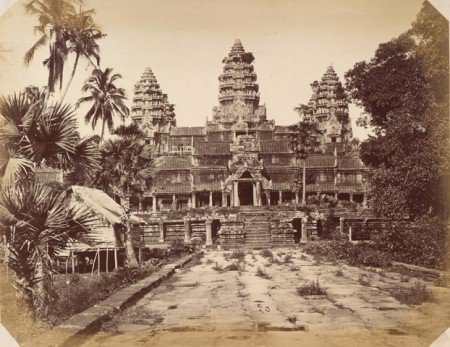 View of central galleries and towers of Angkor Wat, Siam (now in Cambodia), 1866. Photography work by Émile Gsell.