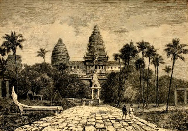 Facade of Angkor Wat, a drawing by Henri Mouhot, c. 1860.