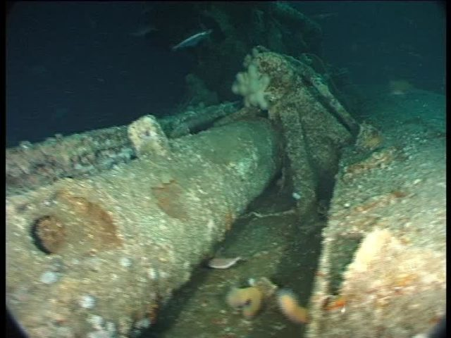The U-boat's snorkel mast in the deck recess with hydraulic elevator piston behind (Innes McCartney)