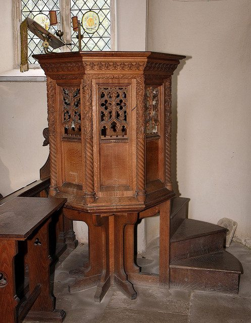 A pulpit appears Victorian or later. Author: Brokentaco CC BY 2.0