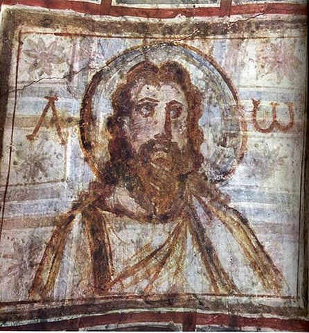 Bearded Christ, from catacombs of Commodilla.