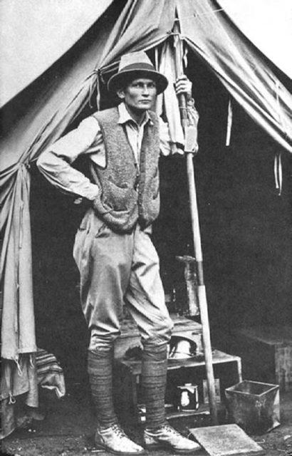 Hiram Bingham III at his tent door near Machu Picchu in 1912