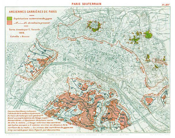 Map of former underground mine exploitation in Paris (1908)