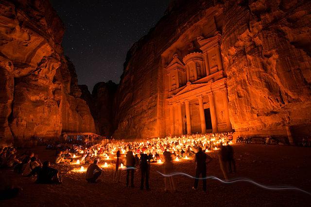 Petra at night. Author: Susanahajer CC BY-SA 3.0