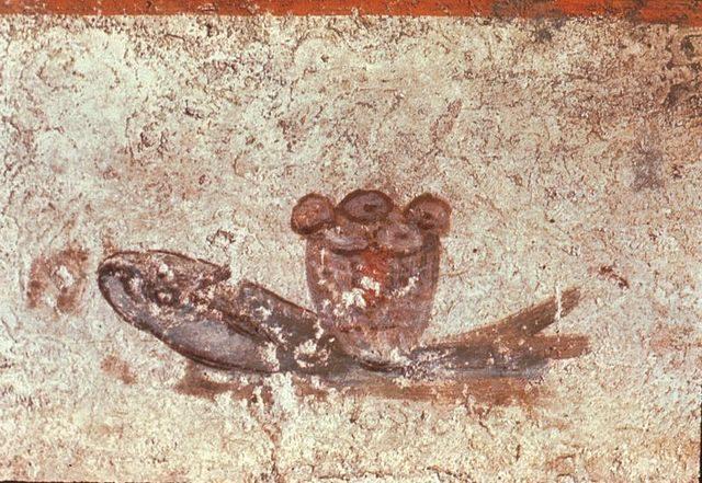The fish and loaves fresco, Catacombs of San Callisto.