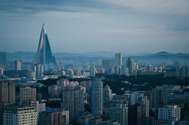 Ryugyong Hotel stands out in the cityscape of Pyongyang, North Korea. Author: m•o•m•o CC-BY 2.0