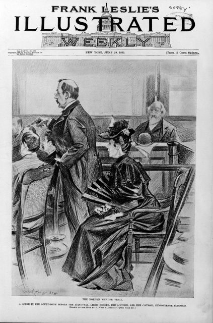 The Borden murder trial—A scene in the courtroom before the acquittal – Illustration in Frank Leslie's illustrated newspaper, 1893, June 29.