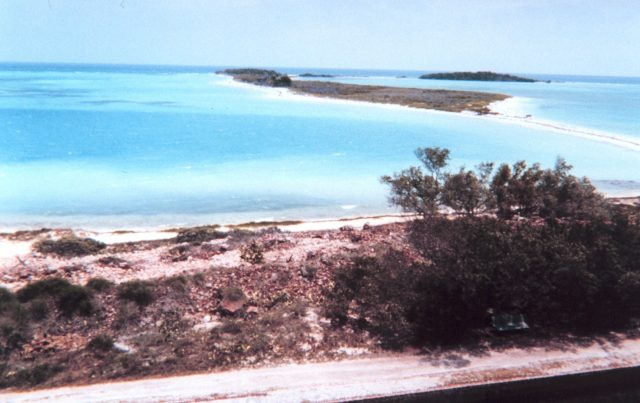 Bush Key (background) seen from Garden Key, with Long Key in the very back right