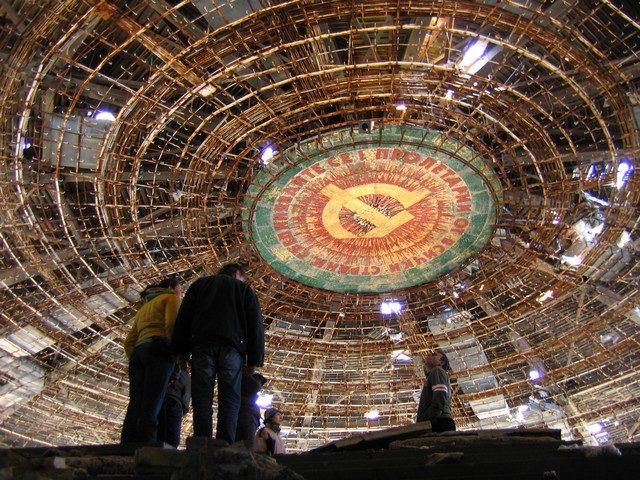Buzludzha ceiling as seen from below the main platform.