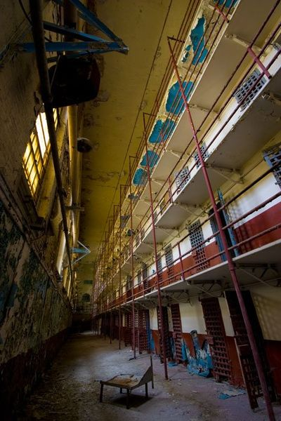 Cell block of abandoned Tennessee State Prison.