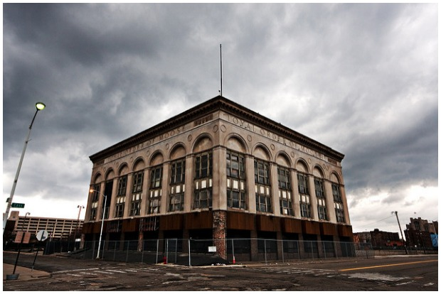 Loyal Order of Moose building in downtown Detroit, Michigan. Completely abandoned along with the whole neighborhood. Rick Harris CC BY 2.0