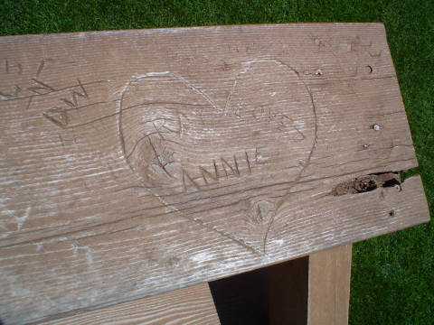 """The """"Ray Loves Annie"""" heart-shaped carving that Kevin Costner's character Ray from the movie Field of Dreams put into the baseball field's bleachers. Author:Jesster79CC BY-SA 3.0"""
