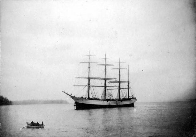 Four-masted ship Peter Iredale at anchor. (Taken some time in 1900).
