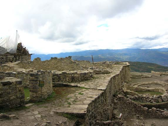 Remains of ancient buildings in Kuelap