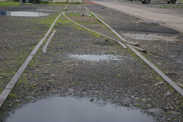 A surviving track next to the road