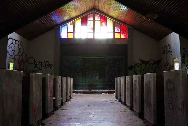 The abandoned chapel – home for the graffiti artists.Author:Will FisherCC BY-SA 2.0