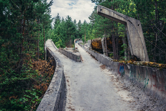 Sarajevo, Bosnia and Herzegovina – August 24, 2015. Abandoned Olympic Bobsleigh and Luge Track, built for the XIV Olympic Winter Games in 1984