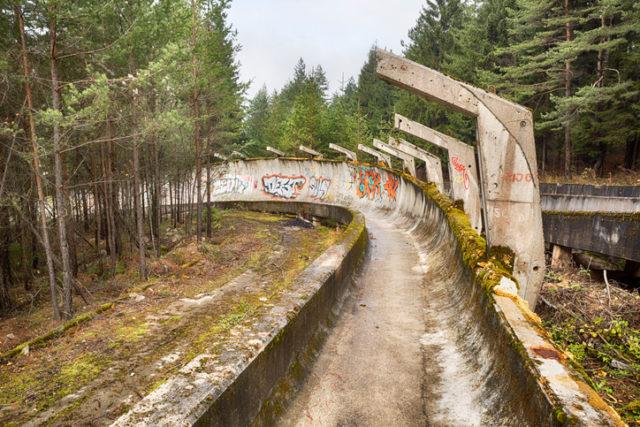 Abandoned bobsled track at Mount Trebevic, Sarajevo, Bosnia.