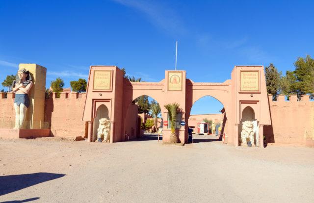 Ouarzazate: Entrance to Atlas Corporation Studios is film studio. Ouarzazate area is film-making location, where Morocco's biggest studios