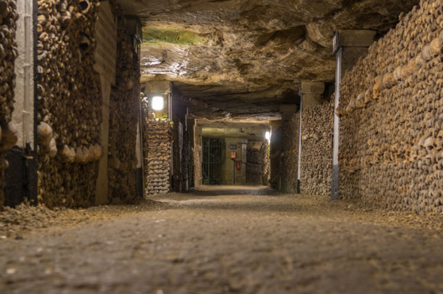 Human remains are stacked in the catacombs.
