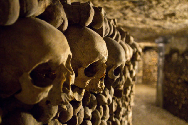 Skulls in the Catacombs of Paris.