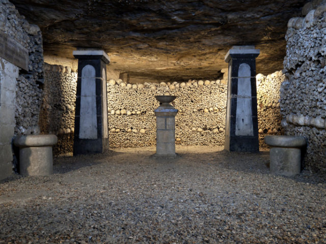 In 1785, Paris decided to solve the problem of its overflowing cemeteries by exhuming the bones of the buried and relocating them to the tunnels of several disused quarries, which were consecrated as a cemetery. It is estimated that about one million bodies are buried here. Paris, France.