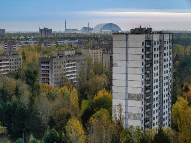 The ghost town Pripyat with the nuclear power plant in the Chernobyl Exclusion Zone which was established after the nuclear disaster in 1986