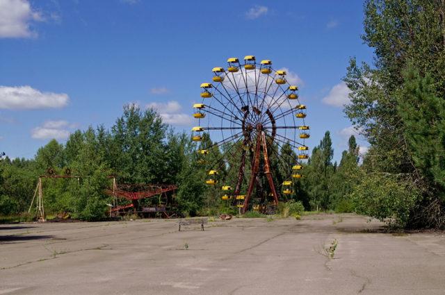 Ferris wheel in Pripyat ghost town in Chornobyl Exclusion Zone, Ukraine