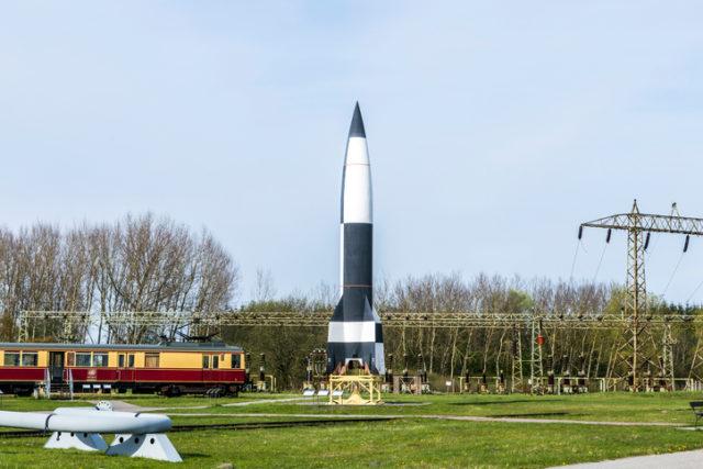 Peenemuende, Germany – April 17, 2014: German WW2 V2 rocket in Peenemuende, Germany. From 1943 onwards large numbers of the rocket were manufactured in underground production facilities.