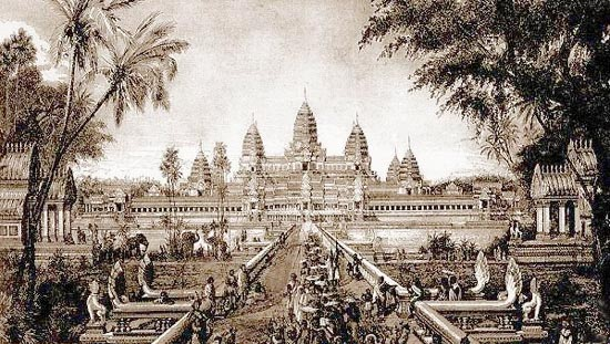 Sketch of Angkor Wat, a drawing by Louis Delaporte, c. 188