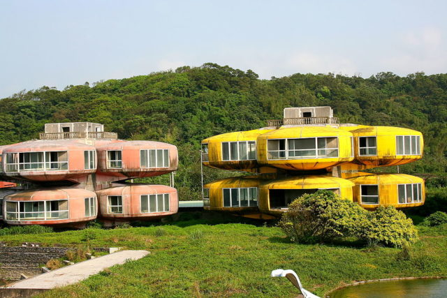 Two of the colorful pod-style buildings.Author:Carrie KellenbergerCC BY 2.0