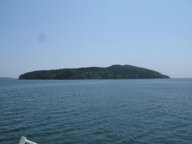 """View from a ferry on Tashirojima island also known as the """"Cat Island"""""""
