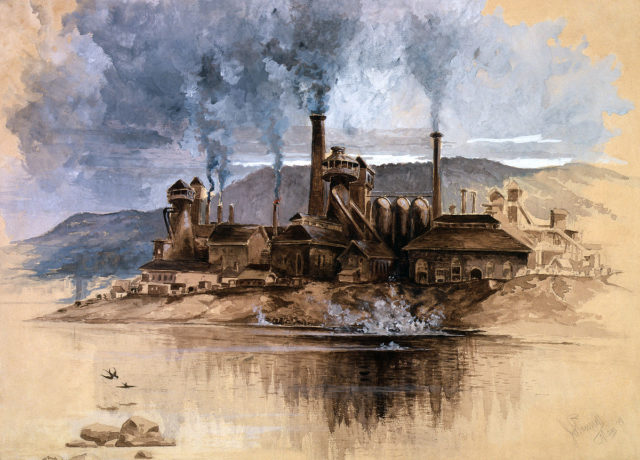 Bethlehem Steel Works, a watercolor by Joseph Pennell, depicting Bethlehem Iron Company in May 1881.