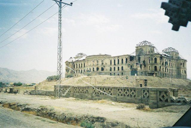 Darul Aman Palace northern faceshowing shelling damage