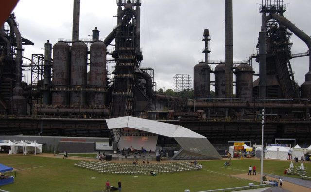 The Levitt Pavilion at SteelStacks, the former Bethlehem Steel site, is being prepared for a show.Author:LbeaumontCC BY-SA 3.0