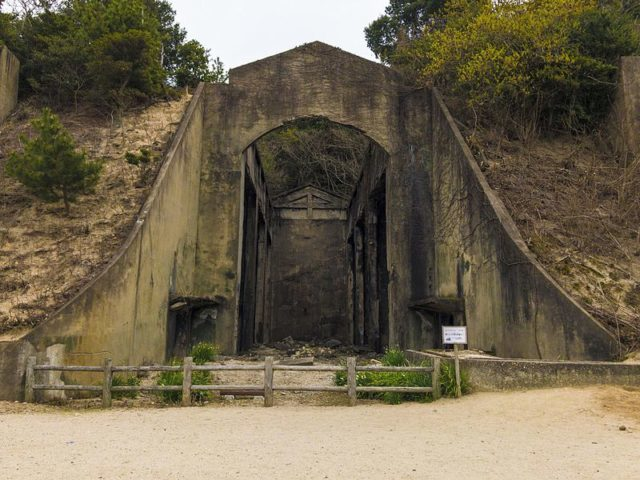 The entrance of the former poison gas storehouse used by the Japanese Imperial Army during World War II at Okunoshima, Japan.