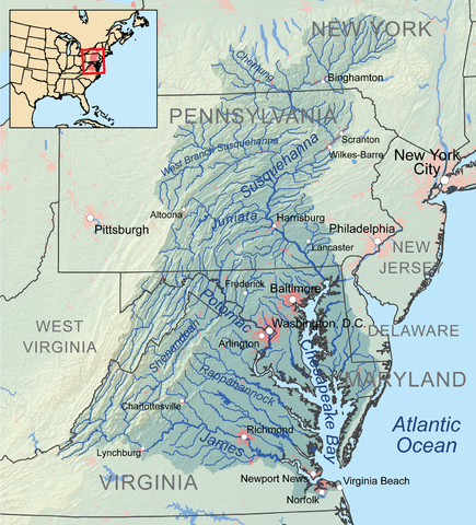 Map showing Chesapeake Bay. Author: Kmusser CC BY-SA 3.0