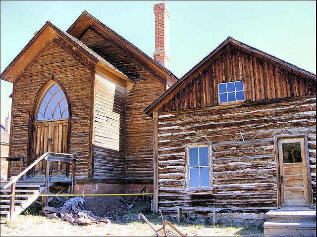 The Methodist Church in Bannack, built in 1877.Author:Raymond HitchcockCC BY-SA 3.0