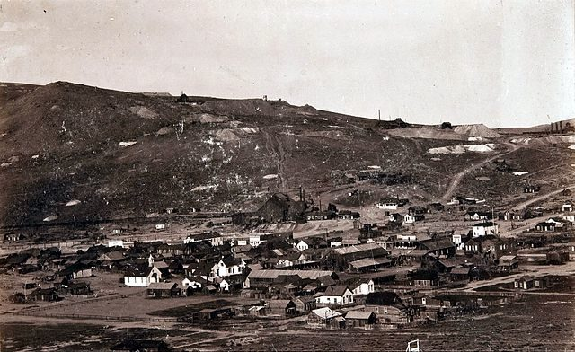 Bird's Eye View photograph of Bodie, California in 1890, looking east from the cemetery, in times when Bodie was active mining town