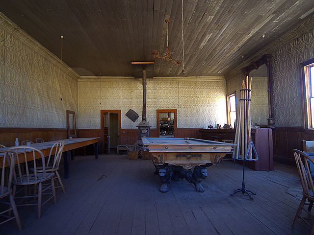 Inside of a saloon in Bodie, California. Many of Bodie's buildings still contain belongings that were left here years ago