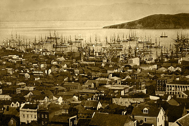 Merchant ships fill San Francisco harbor in 1850 or 1851 during the California Gold Rush