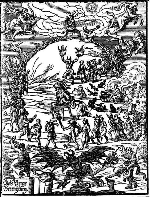 Title illustration of Johannes Praetorius (writer)' Blocksbergs Verrichtung (1668)