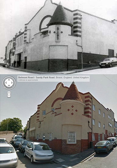Brislington Picture Hall, then and now, Sandy Park Road, 1913-1956.Author:brizzle born and bred CC BY-ND 2.0