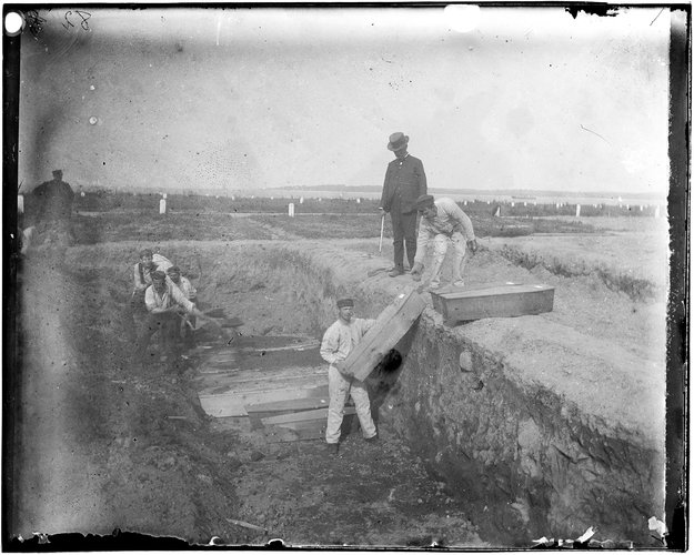 A trench at the potter's field on Hart Island, circa 1890